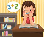 宿題をしている女の子 — ストックベクタ