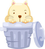 Cat in Trashcan — Stock Vector