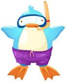 Penguin scuba diver — Stock Vector