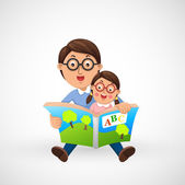 Father and son reading book together — Stock Vector