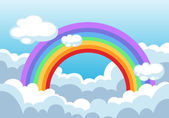 Rainbow and clouds in the sky — Stock Vector