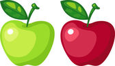 Green apple and red apple — Stock Vector