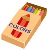 Pencils on box — Stock Vector