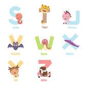Alphabet Animal S-Z — Stock Vector