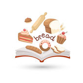 Open book and icons of bread. — Stock Vector