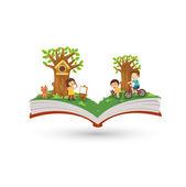 Open book activity in park — Vetorial Stock