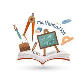Open book and icons of mathematics — Vector de stock