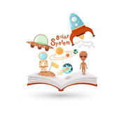 Open book and icons of science. — Vector de stock
