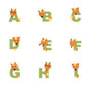 Alphabet A-I Fox — Stock Vector