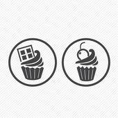 Cupcake simgeler — Stok Vektör
