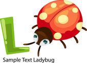 ALPHABET LETTER L-Ladybug — Vettoriale Stock