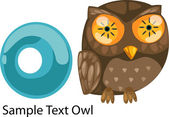 ALPHABET LETTER O-Owl . — Vettoriale Stock