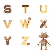 Alphabet S-Z Robot — Vettoriale Stock