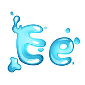 Water letter E — Stock Vector