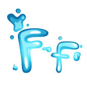 Water letter F — Stock Vector