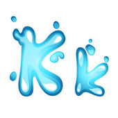 Water letter K — Stock Vector