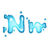 Water letter N — Stock Vector