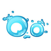 Water letter O — Stock Vector
