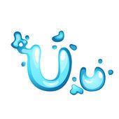 Water letter U — Stock Vector
