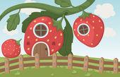 Strawberry house — Stock Vector