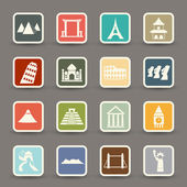Travel and tourism locations icons — Stock Vector