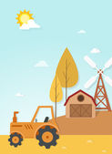 Farm landscape scene vector — Stock Vector