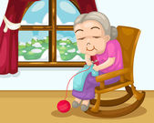 Grandmother knitting vector — Stock Vector