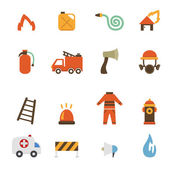 Fireman icons.vector eps10 — ストックベクタ