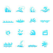 Water wave icons vector eps10 — Stock Vector
