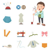 Designer and sewing equipment icons — Stock Vector