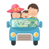 Family traveling in car vector — Stock Vector