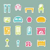 Möbel icons set — Stockvektor