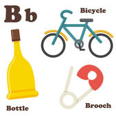 Alphabet B letter.Bottle,Bicycle,Brooch — Stock Vector