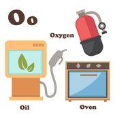 Alphabet O letter.Oil,Oven,Oxygen — Stock Vector