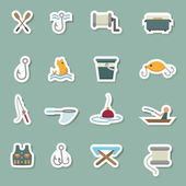 Fishing Equipment color icons — Stok Vektör