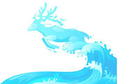Jumping deer out of water vector — Stock Vector