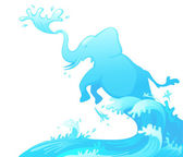 Jumping elephant out of water vector — Stock Vector