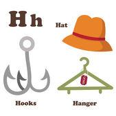 Alphabet H letter.Hanger,Hat,Hooks — Stock Vector