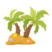 Two coconut trees vector — Stock Vector