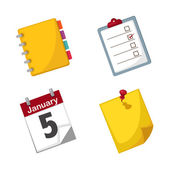 Note paper and calendar set vector — Stock Vector