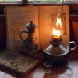 Stillife with oil lamp and an ancient book of recipes — Stock Photo #44269209