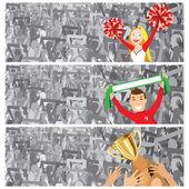 Stadium crowd with cheerleader — Stock Vector