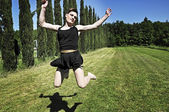 Drag queen jumping — Stock Photo