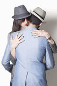 Gangster couple hugging — Stock Photo