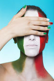 Italian supporter for FIFA 2014 covering her eyes — Foto Stock