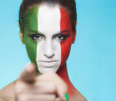 Italian supporter for FIFA 2014 pointing out — Foto Stock