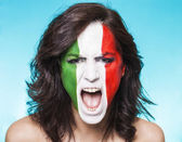Italian supporter for FIFA 2014 screaming — Foto Stock