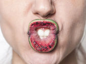 Watermelon lips making grimace — Stock Photo