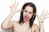 Funny girl making a prank — Stock Photo