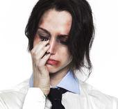 Beaten up girl crying — Stock Photo
